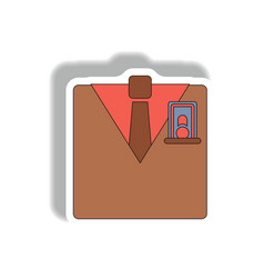 Business suit and tie in paper vector