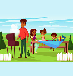 Cartoon african family at picnic bbq party vector