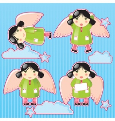 cartoon angels vector image