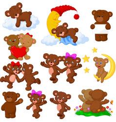 Cartoon happy bear collection set vector