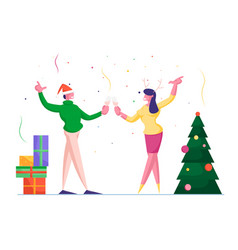 cheerful man in knitted sweater and santa hat vector image