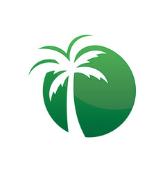 Circle palm tree logo image vector