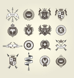 coat arms collection - emblems and blazons vector image