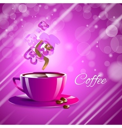 coffee on a black table showing break or breakfast vector image