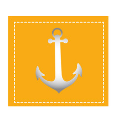 Colorful square shape frame with anchor vector