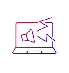 Computer makes strange noises gradient linear icon vector
