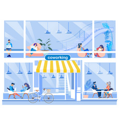 coworking office advertising flat cartoon banner vector image