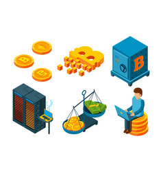 crypto currency 3d icon business ico blockchain vector image