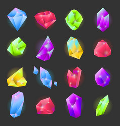 Crystals or gemstones of different forms and vector