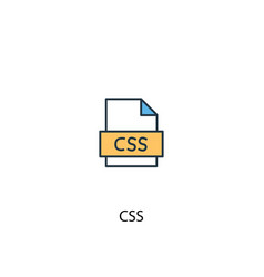 css concept 2 colored line icon simple yellow and vector image