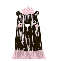 cute bear with glitter pink crown vector image