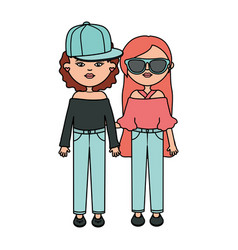 Cute girls with sport cap and sunglasses vector