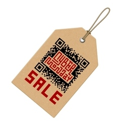 Cyber monday sale lettering with qr-code on price vector