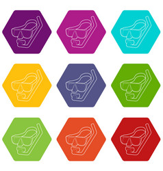 diving mask icons set 9 vector image