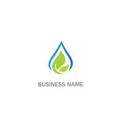 droplet water green leaf bio logo vector image