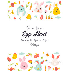 egg hunt invitation template with cute rabbits vector image
