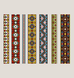 Ethnic ribbon patterns set vector