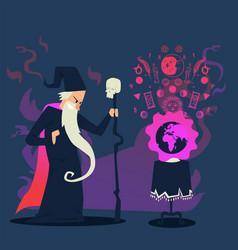 Evil wizard casting spell on planet earth cartoon vector