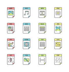 Files format color icons set vector