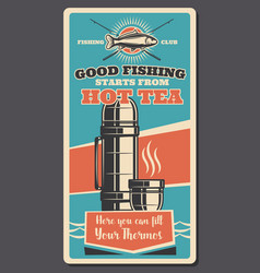 Fishing sport items and thermos vector