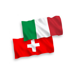 Flags italy and switzerland on a white vector