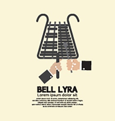 Flat Design Bell Lyra With Hands vector image