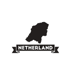 Flat icon in black and white netherlands map vector