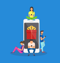 Flat men and women standing near big smartphone vector