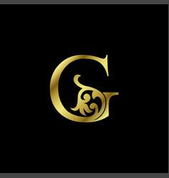 Gold luxury letter g ornament logo alphabet vector