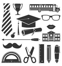 Graduation icons set isolated on white vector