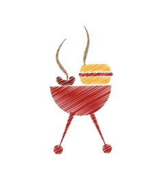 Grill with hamburger drawing icon vector
