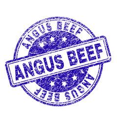 Grunge textured angus beef stamp seal vector