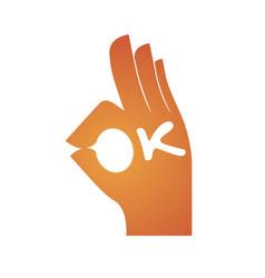 hand gesture spelling ok vector image