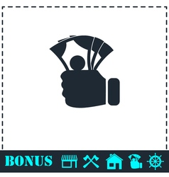 Hand holding money icon flat vector