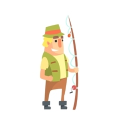 Happy Amateur Fisherman In Khaki Clothes Standing vector image