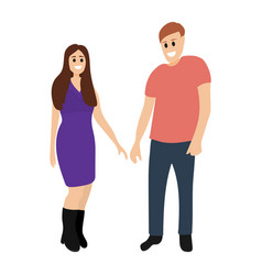 happy couple hugs cartoon man and woman isolated vector image