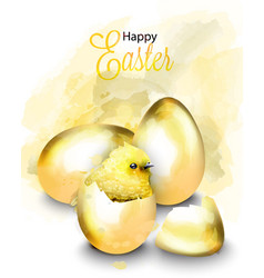 happy easter card with cute chicken vector image