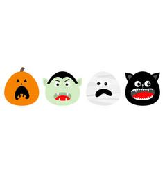 happy halloween icon set line vampire count vector image
