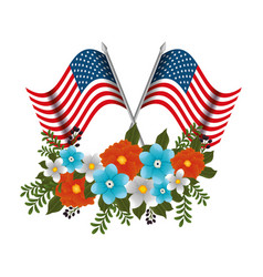 Happy memorial day with beautiful flowers and usa vector