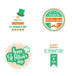 happy st patrick day set design templates vector image