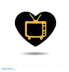 heart black icon love symbol retro tv in heart vector image