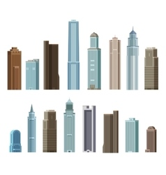 House building skyscraper Set of colored icons vector