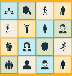 Human icons set collection of ladder beloveds vector