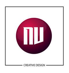 initial letter nv logo template design vector image
