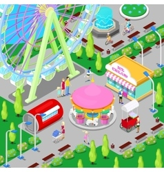 Isometric Amusement Park with Carousel vector