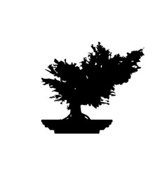 japanese bonsai tree plant silhouette icon vector image
