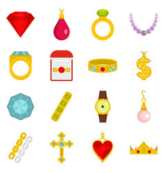 Jewelry items icons set in flat style vector