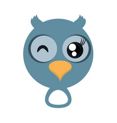 kawaii face owl animal fun vector image