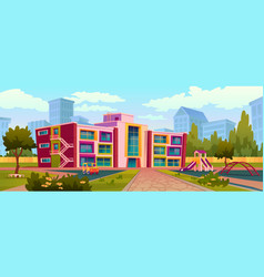 Kids playground school building and yard outdoors vector