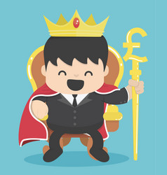 King of businessman with silver pound symbol vector